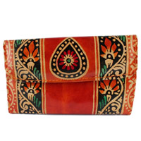 Send Rakhi Gift For Sister Leather Work in Batik Print to India