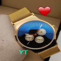 Rakhi Gifts Delivery For Brother Golden Stainless Steel Men's Watch