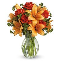 Best Flower Delivery in India : Orange Lily Red Roses