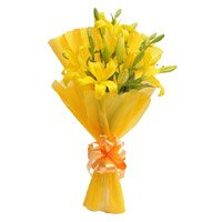 Bouquet of yellow lily - Flowers to India