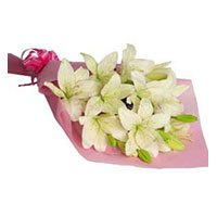 Bhai Dooj Flowers arrangements of 6 white lily
