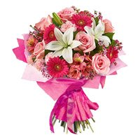 Bouquet of gerbera, carnation, rose and lily - Wedding Flowers to India