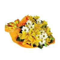 Bhai Dooj Flower Yellow Lily 12 White Gerbera Bouquet Delivery in India