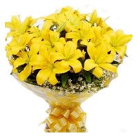 Bouquet of 20 yellow lily - Flowers to India