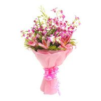 Online Flower Delivery in India - Lily Orchids Bouquet