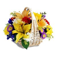 Online Delivery of Mix Flower Basket 18 Flowers to Ooty