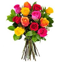 Buy Mixed Roses Bouquet 12 Flowers