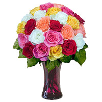 Buy Mixed Roses in Vase 24 Flowers