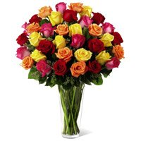 Buy Mixed Roses in Vase 50 Flowers to India Delivery in India