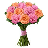 Send Peach Pink Rose Bouquet 12 Flowers
