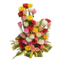 Online Send Mixed Roses Basket 36 Flowers Delivery in India