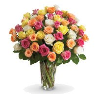 Buy Online Mixed Roses Vase 36 Flowers