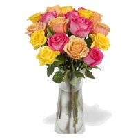Online Send Pink, Peach, Yellow Roses Vase 12 Flowers