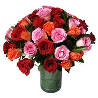 Buy Pink, Red, Orange Roses Vase 24 Flowers to India