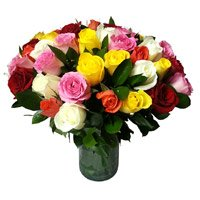 Send Mixed Roses Vase 30 Flowers