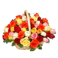 Online Mixed Roses Basket 40 Flowers to India
