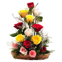 Mixed Roses Basket 12 Flowers