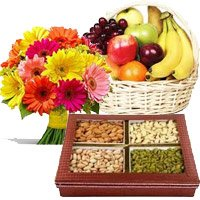 Combo of mix gerbera, fruit basket and 500 gm dry fruits - Anniversary Gifts to India