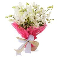 Bhai Dooj Flower Bouquet of 9 white and orchids