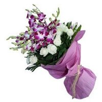 Bouquet of 20 orchids and roses flowers for Bhai Dooj