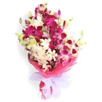 Bouquet of 20 purple white orchids - Wedding Flowers to India