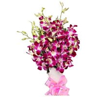 Bouquet of 12 purple orchids - Send Flowers