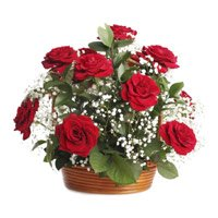 Send Red Roses Basket 18 Flowers to India