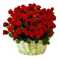 Send Flowers to India. Red Roses Basket of 36 Flowers in India