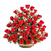 Flower Delivery in India. Red Roses Basket 50 Flowers to India