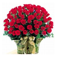 Send Red Roses Basket 75 Flowers to India. Valentine Flower delivery in India