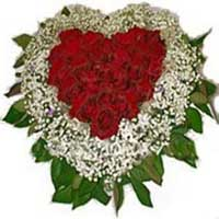 Send Online Flowers to Delhi - Heart Shape Arrangement