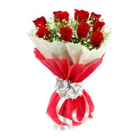 Online Flower Delivery in Rourkela. Send Red Roses Bouquet with Crepe Paper including 12 Flowers to Rourkela