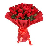 Send Red Rose Bouquet in Crepe 50 Flowers Delivery in India