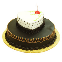 Cake Delivery in Imphal for 2-in-1 Heart Chocolate Vanilla Cake