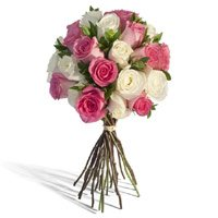 Send White Pink Roses Bouquet 24 Flowers to India