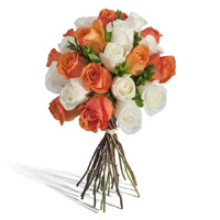 White Orange Roses Bouquet 24 Flowers to India