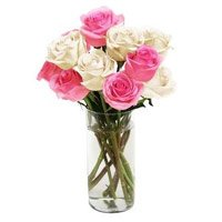 White Pink Roses Vase 10 Flowers to India