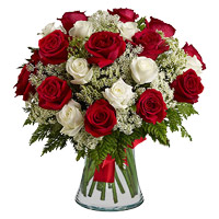 Send Red White Roses Vase 36 Flowers to India