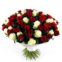 Buy Red White Roses Bouquet 100 Flowers to India