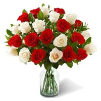 Buy Online Red White Roses in Vase 30 Flowers