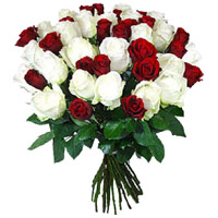 Send Red White Roses Bouquet 36 Flowers Delivery in India