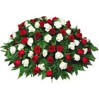 Send Red White Roses Basket 100 Flowers to India