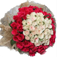 Buy Red White Roses Bouquet 50 Flowers Delivery in India