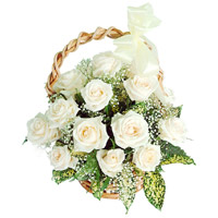 Flowers Delivery in India : 12 White Roses Basket