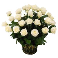 Deliver Flowers to India : 24 White Roses Basket