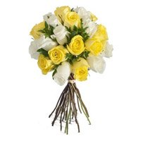 Send Yellow White Roses Bouquet 24 Flowers Delivery in India