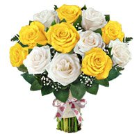 Yellow White Roses Bouquet 12 Flowers Delivery in India