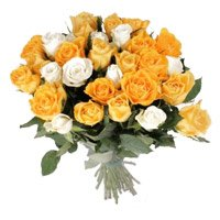 Online Orange White Roses Bouquet 35 Flowers to India