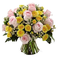 Buy Online Yellow Pink Roses Bouquet 40 Flowers Delivery in India