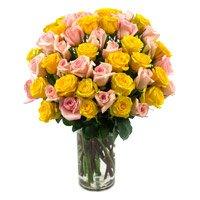 Send Yellow Pink Roses Vase 50 Flowers Delivery in India